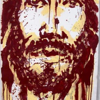 Christ aux coulures, peinture de Vivien Lacueille