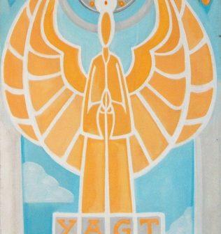 L'Ange Bâtisseur de Cathédrales, peinture de Vivien Lacueille