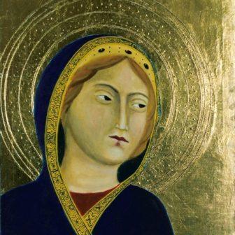 Vierge Moyen-Age, peinture de Vivien Lacueille